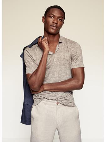 MANGO - 100% Linen Polo Shirt BEIGE