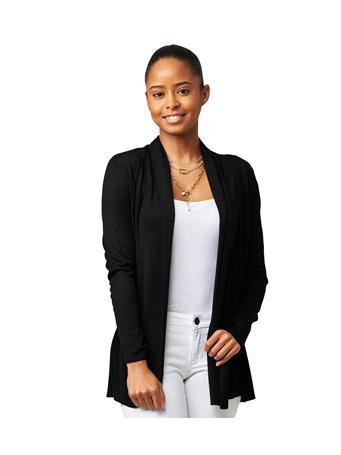 CYRUS - Long Sleeve Shawl Collar Cardigan BLACK