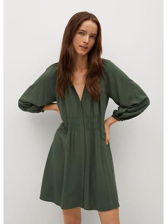 MANGO - Flowy Dress With Gathered Waist MEDIUM GREEN