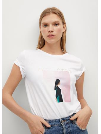 MANGO - Organic Printed Cotton T-shirt WHITE