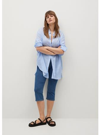 MANGO - Mid-rise Crop Jeans MEDIUM BLUE