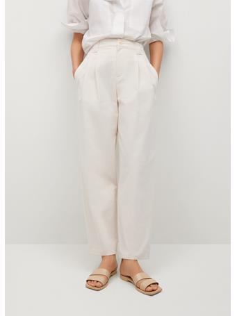 MANGO - Pleat Straight Trousers NATURAL WHITE