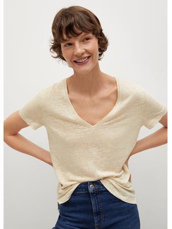 MANGO - V-neck Linen T-shirt LIGHT BEIGE