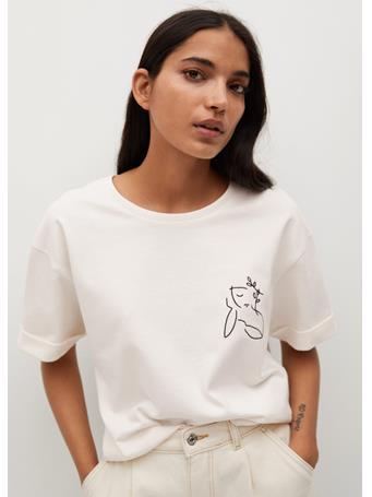 MANGO - Boats Printed Cotton T-shirt WHITE