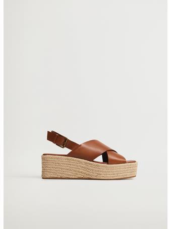 MANGO - Esparto Leather Sandals MEDIUM BROWN
