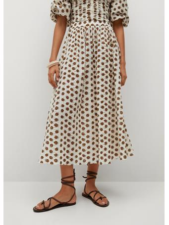 MANGO - Printed Cotton Skirt NATURAL WHITE