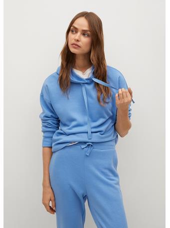 MANGO - Hooded Knit Sweatshirt MEDIUM BLUE