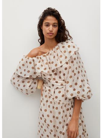 MANGO - Polka-dot Dress With Ruffles NATURAL WHITE
