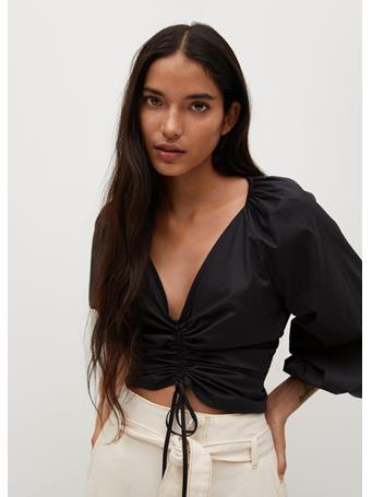MANGO - Cotton Blouse With Ruched Detail BLACK