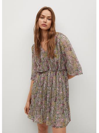 MANGO - Printed Pleated Dress MEDIUM GREEN