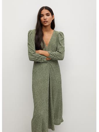 MANGO - Midi Printed Dress MEDIUM GREEN