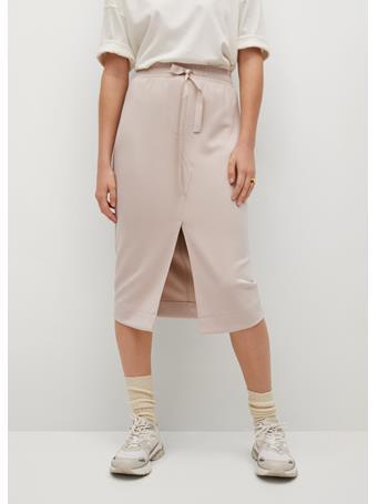 MANGO - Elastic Waist Skirt LIGHT BEIGE