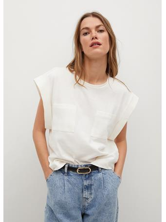 MANGO - Pockets Cotton T-shirt NATURAL WHITE