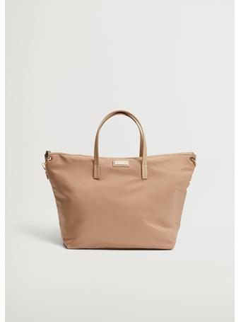 MANGO - Nylon Shopper Bag LIGHT BEIGE