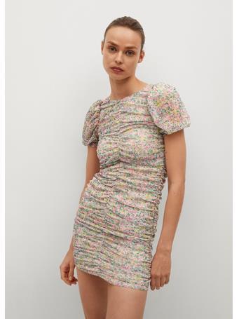 MANGO - Ruched Floral Dress LT PINK