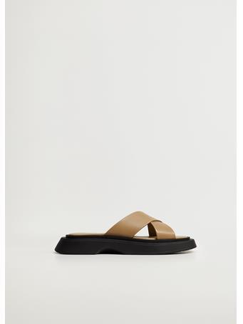 MANGO - Leather Sandals With Straps MEDIUM GREEN