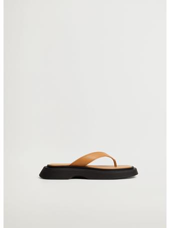 MANGO - Platform Leather Sandals MEDIUM BROWN