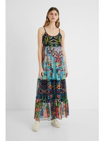 DESIGUAL - Marnac Long flared dress floral patch MULTI