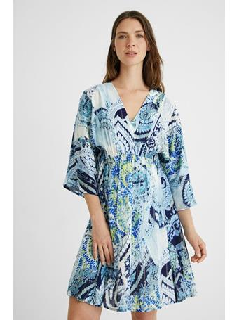 DESIGUAL -Short Sleeve Flowing Nantes Dress  NAVY