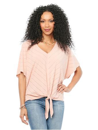DEMOCRACY - Kimono Elbow Sleeve V Neck Mitered Stripe Dusty Pink Knit Top DUSTY PINK