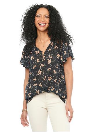 DEMOCRACY - Ruffle Cascade Short Sleeve Floral Dot Print Woven Top BLACK/PEACH