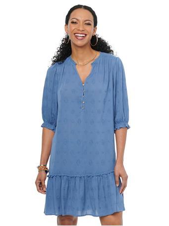 DEMOCRACY - 3/4Sl Bonnet Sl Flounce Denim Dress VINTAGE BLUE