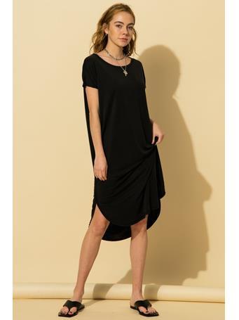 HYFVE - Drop Shoulder Curved Raw Edge Hem Dress BLACK