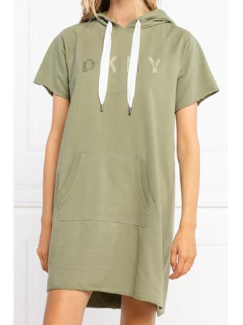 DKNY - Short Sleeve Hooded Sweatshirt Dress OLIVE