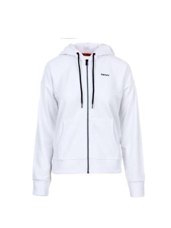 DKNY - Logo Stripe &  Stripe Full zip Hoodie WHITE