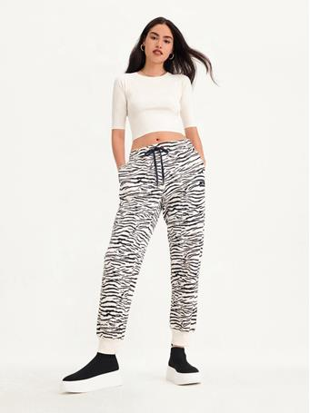 DKNY - Tiger King Print Relaxed Jogger With Side Panel EGG NOG