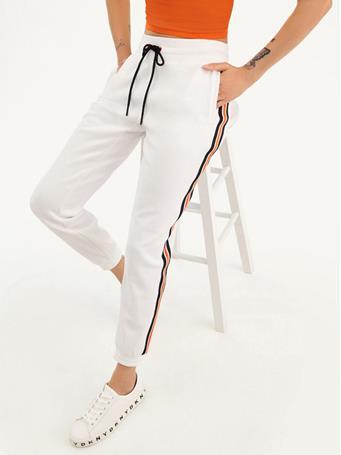 DKNY - Plaited Interlock Jogger With Logo Stripe WHITE/MANDARIN