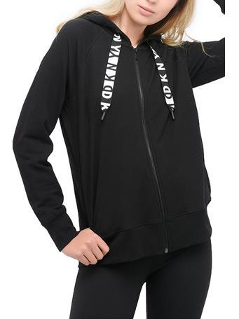 DKNY - Two Tone Logo Drawcord Zip Hoodie BLACK