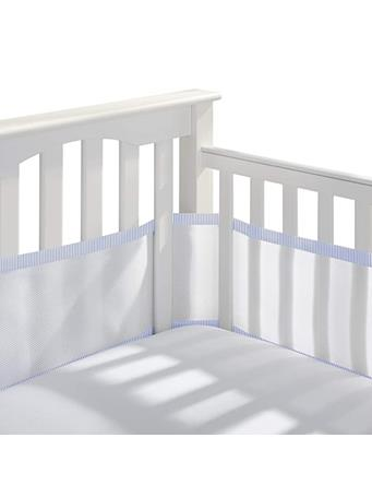 BREATHABLE BABY - Classic Breathable Mesh Crib Liner - White With Blue NO COLOR