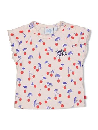 FEETJE - CHERRY SWEETNESS Allover Print Short Sleeve Top ROSE