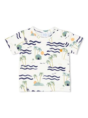 FEETJE - HERE COMES THE FUN Allover Print Short Sleeve Top WHITE