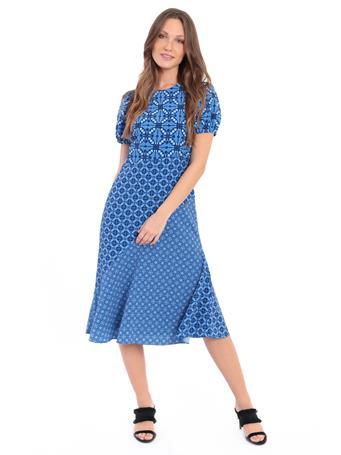 DONNA MORGAN - Jewel Neck Myla Puff Sleeve SKY BLUE/NAVY