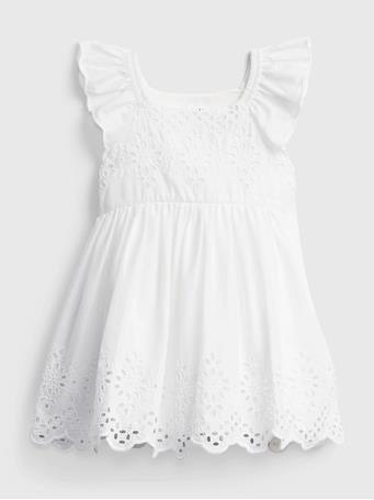 GAP - Baby Eyelet Dress OPTIC WHITE 3