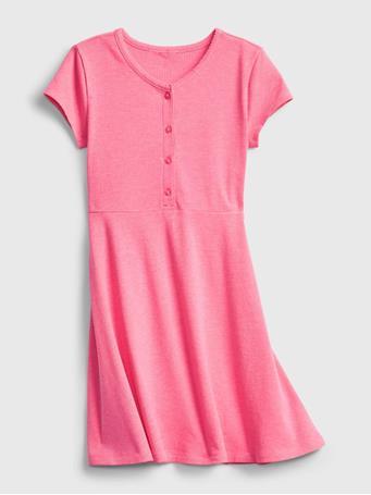 GAP - Kids Ribbed Dress NEON PINK ROSE