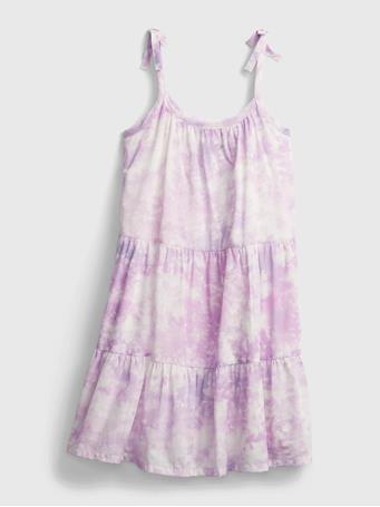 GAP - Kids Tie-Dye Tiered Midi Dress PURPLE TIE DYE