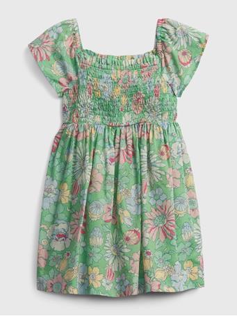 GAP - Toddler Smocked Floral Dress STEM GREEN FLORAL