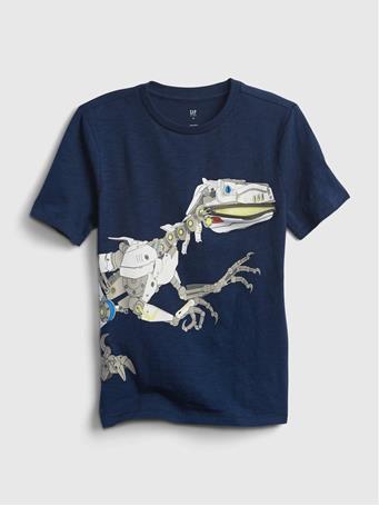 GAP - Kids Dinosaur Zipper Graphic T-Shirt ELYSIAN BLUE