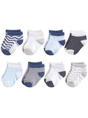 BABYVISION - Luvable Friends Fun Essential Socks, Gray Blue Chevron MULTI