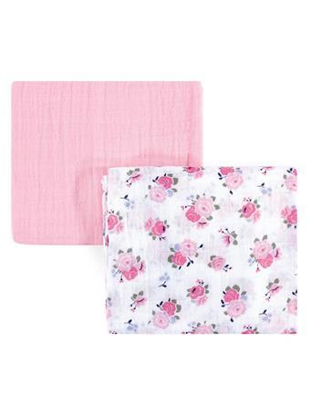 BABYVISION - Luvable Friends Muslin Cotton Swaddle Blanket, Floral 2-Pack NO COLOR