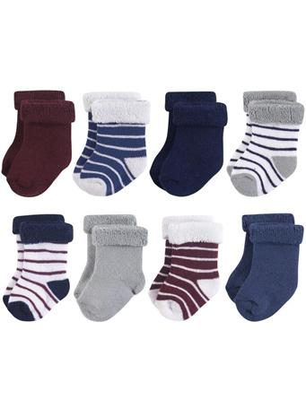 BABYVISION - Hudson Baby Terry Roll Cuff Socks, 8-Pack, Navy Gray Stripe NO COLOR