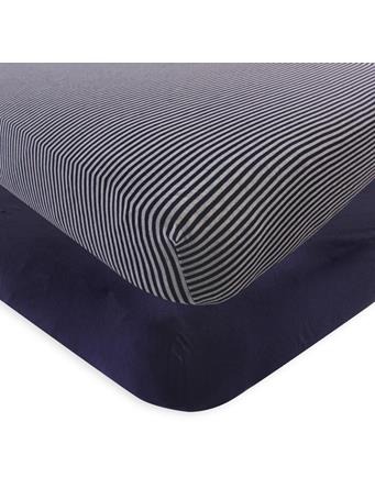 BABYVISION - Touched By Nature Organic Cotton Crib Sheet, Navy Heather Gray NO COLOR