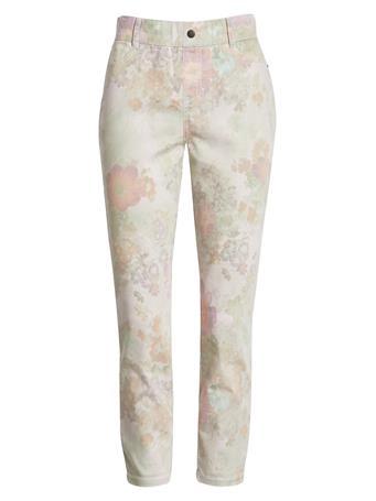 HUE - Pastel Floral Denim Capri Leggings In White WHITE