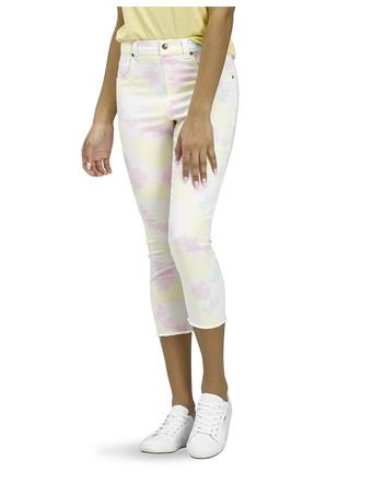 HUE - Vapor Tie Dye Denim High Rise Capri MULTI