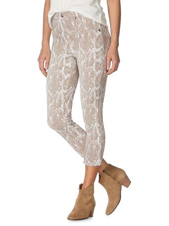 HUE - Faded Python-Print High-Rise Capri Pants TAUPE