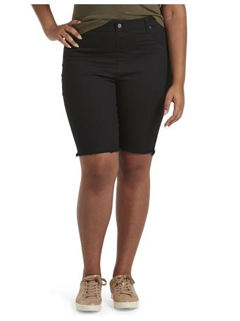 HUE - Ultra Soft Denim High Rise Bermuda Shorts BLACK