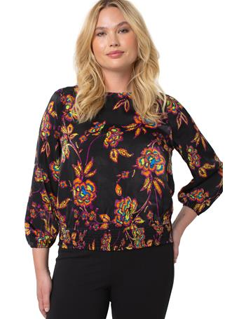LIVERPOOL JEANS - Puff Sleeve Top With Smocked Waistband NEON FLORAL PRINT